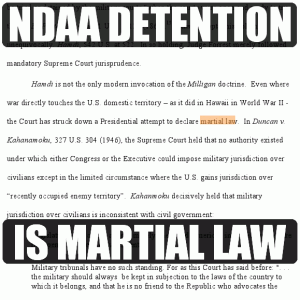 Sobering! Latest Motion: NDAA Military Detention IS Martial Law
